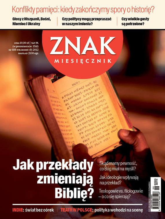 okładka Miesięcznik Znak, numer 688 (wrzesień 2012), Książka |