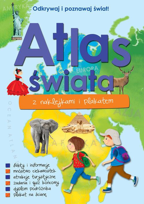 okładka Atlas świata z naklejkami i plakatemksiążka      Kaniewska Paulina