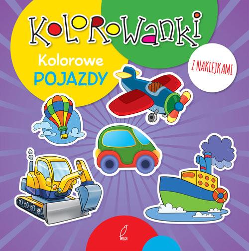 okładka Kolorowanki z naklejkami. Kolorowe pojazdy, Książka |