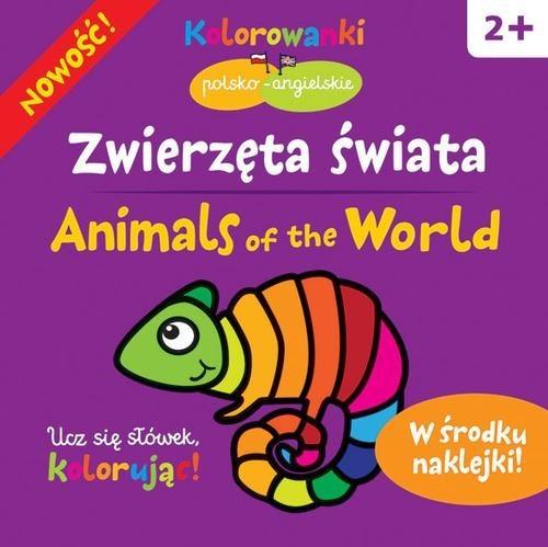 okładka Zwierzęta świata. Kolorowanki polsko-angielskie z naklejkami, Książka | Bardos Krystyna