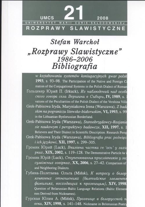 okładka Rozprawy slawistyczne nr 21 1986-06 Bibliografia, Książka | Warchoł Stefan