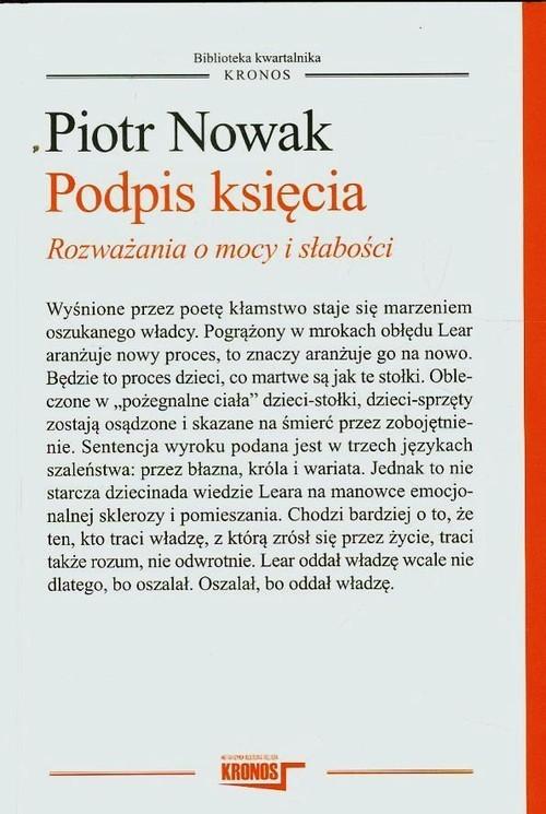 okładka Podpis księcia Rozważania o mocy i słabości, Książka | Nowak Piotr