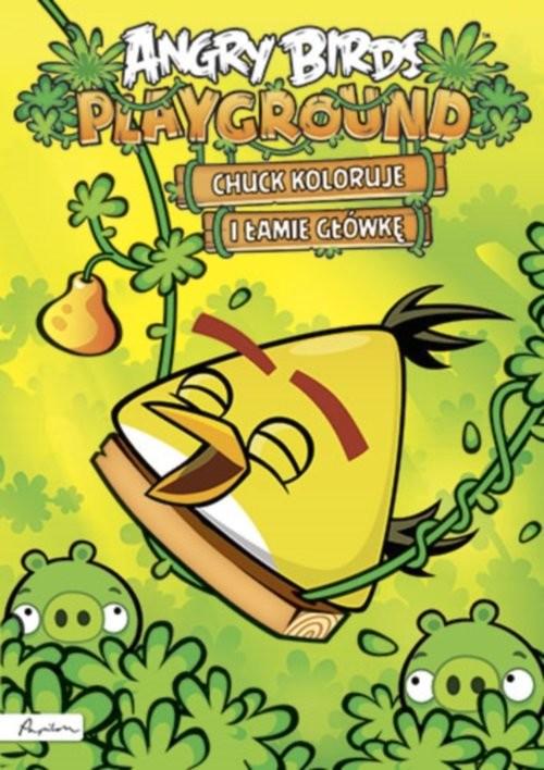 okładka Angry Birds Playground Chuck koloruje i łamie główkę Książka z naklejkami, Książka |