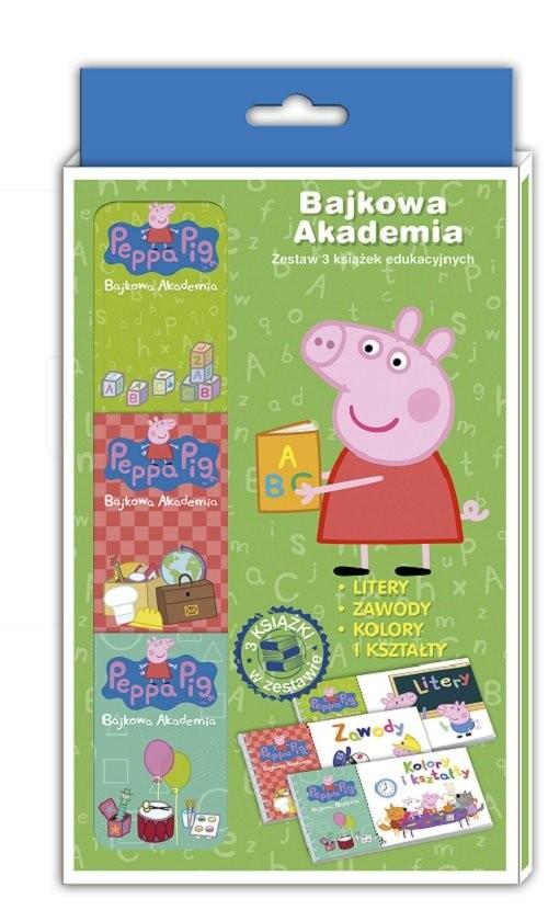 okładka Peppa Pig Bajkowa Akademia Tom 1 Litery, zawody, kolory i kształtyksiążka     
