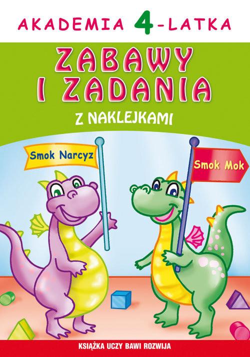 okładka Akademia 4-latka. Zabawy i zadania z naklejkami, Książka   Joanna  Paruszewska
