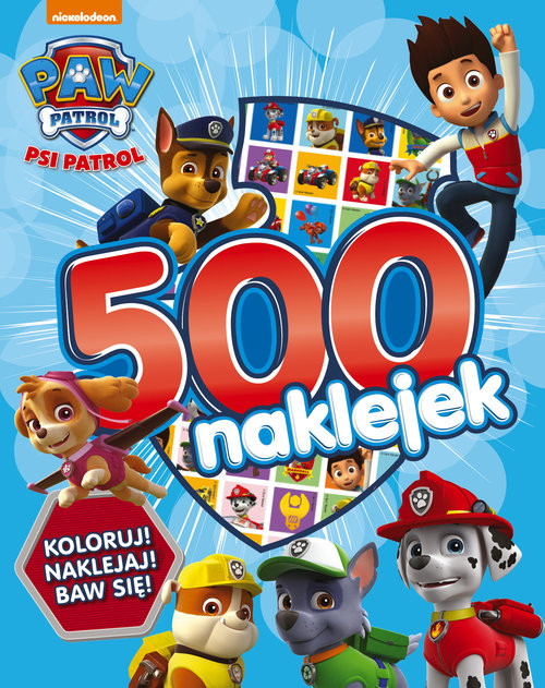 okładka Psi Patrol 500 naklejek, Książka  