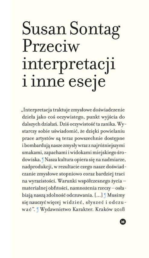okładka Przeciw interpretacji i inne eseje, Książka | Sontag Susan