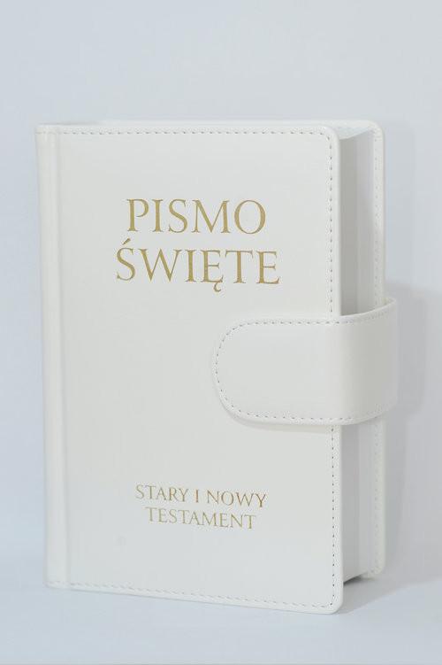 okładka Pismo Święte Stary i Nowy Testament B5 białe skóropodobne z zapięciem na magnes, Książka |