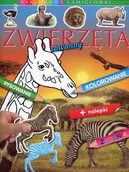 okładka Zwierzęta sawanny Naklejkowe łamigłówki, Książka | Emilie Beaumont