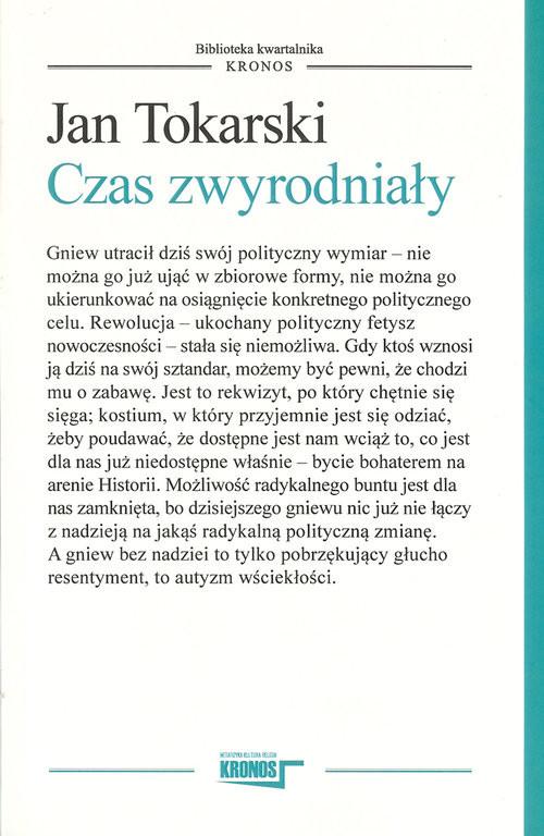 okładka Czas zwyrodniały, Książka | Jan Tokarski