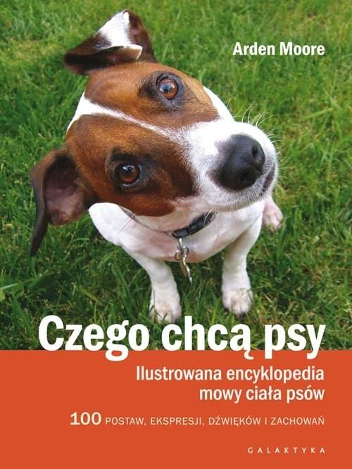 okładka Czego chcą psy Ilustrowana encyklopedia mowy ciała psów. 100 pozycji, wyrazów pyska, dźwięków i zachowań, Książka | Moore Arden