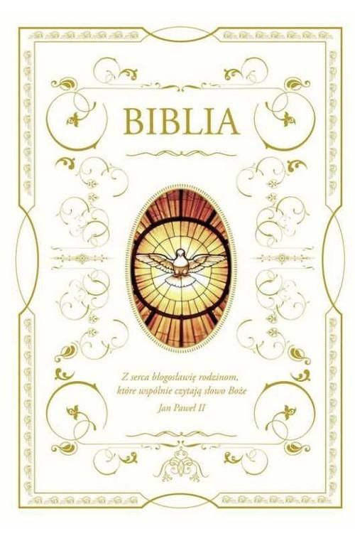 okładka Biblia domowa z białą obwolutą - wizerunek Ducha Świętego, Książka |