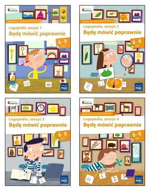 okładka Owocna edukacja Zestaw Logopedia Będę mówić poprawnie Zeszyt 1-4 Edukacja wczesnoszkolna, Książka |