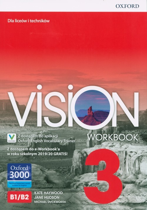 okładka Vision 3 Workbook + e-Workbook + Vocabulary Trainer Szkoła ponadpodstawowa i ponadgimnazjalna, Książka | Kate Haywood, Jane Hudson, Michael Duckworth