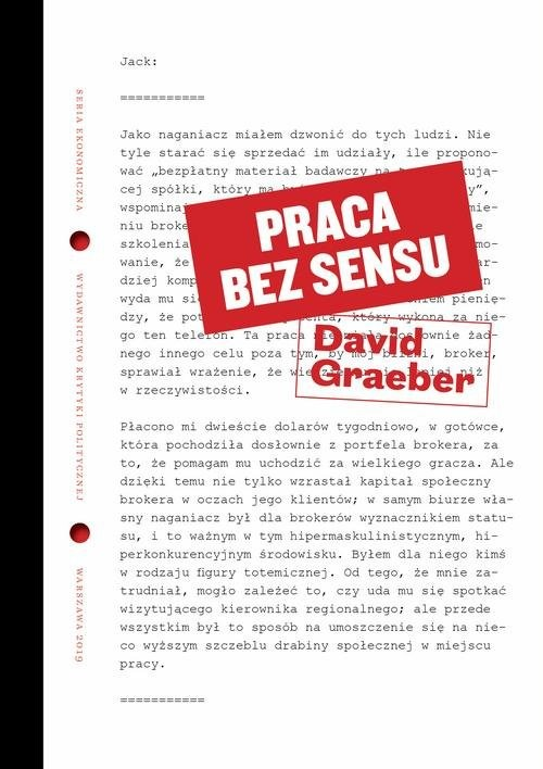 okładka Praca bez sensu Teoria, Książka | Graeber David