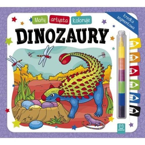okładka Mały artysta koloruje dinozaury + kredka segmentowa, Książka | Kajdana Sylwia