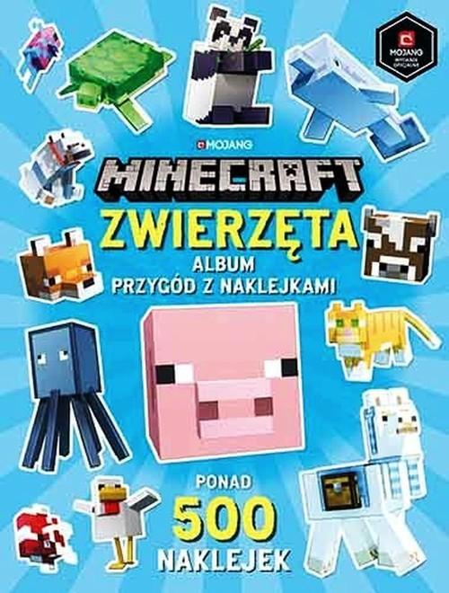 okładka Minecraft Zwierzęta Album przygód z naklejkami ponad 500 naklejekksiążka     