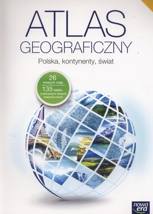 okładka Atlas geograficzny Polska kontynenty świat Gimnazjum, Książka |