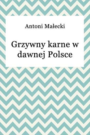 okładka Grzywny karne w dawnej Polsce, Ebook | Antoni Małecki