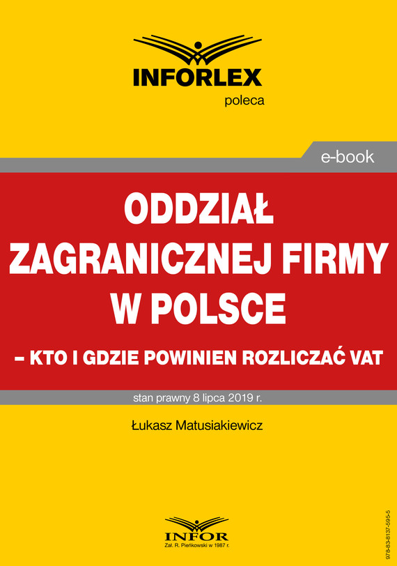 okładka Oddział zagranicznej firmy w Polsce – kto i gdzie powinien rozliczać VATebook | pdf | Łukasz Matusiakiewicz