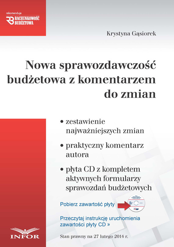 okładka Nowa sprawozdawczość budżetowa z komentarzem w PDFebook | pdf | Krystyna Gąsiorek