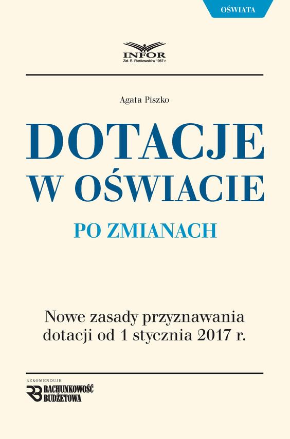 okładka Dotacje oświatowe po zmianachebook   pdf   Agata Piszko