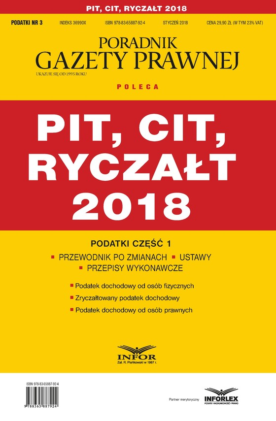 okładka PIT, CIT, ryczałt 2018. Podatki część 1, Ebook | Praca Zbiorowa