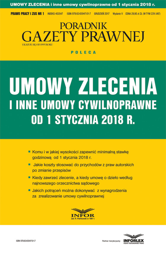okładka Umowy zlecenia i inne umowy cywilnoprawne od stycznia 2018 r., Ebook | Praca Zbiorowa