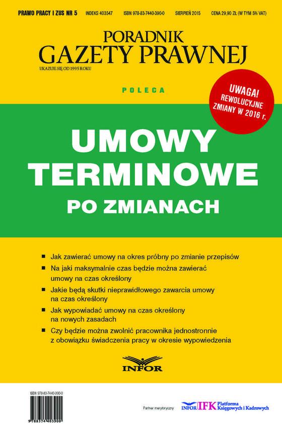okładka Umowy terminowe po zmianach, Ebook | INFOR PL SA