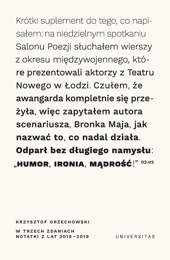 okładka W trzech zdaniach. Zapiski z lat 2018/2019ebook   epub, mobi   Orzechowski Krzysztof