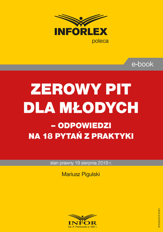 okładka Zerowy PIT dla młodych– odpowiedzi na 18 pytań z praktyki, Ebook | Mariusz  Pigulski
