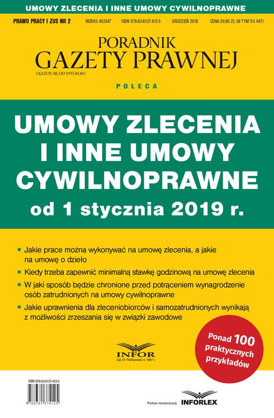 okładka Umowy zlecenia i inne umowy cywilnoprawne od 1 stycznia 2019 r., Ebook | praca zbiorowa