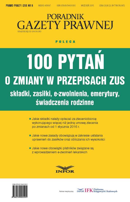 okładka 100 pytań o zmiany w przepisach ZUS.                                                                                Składki, Zasiłki, e-zwolnienia, emerytury, świadczenia rodzinne, Ebook | INFOR PL SA