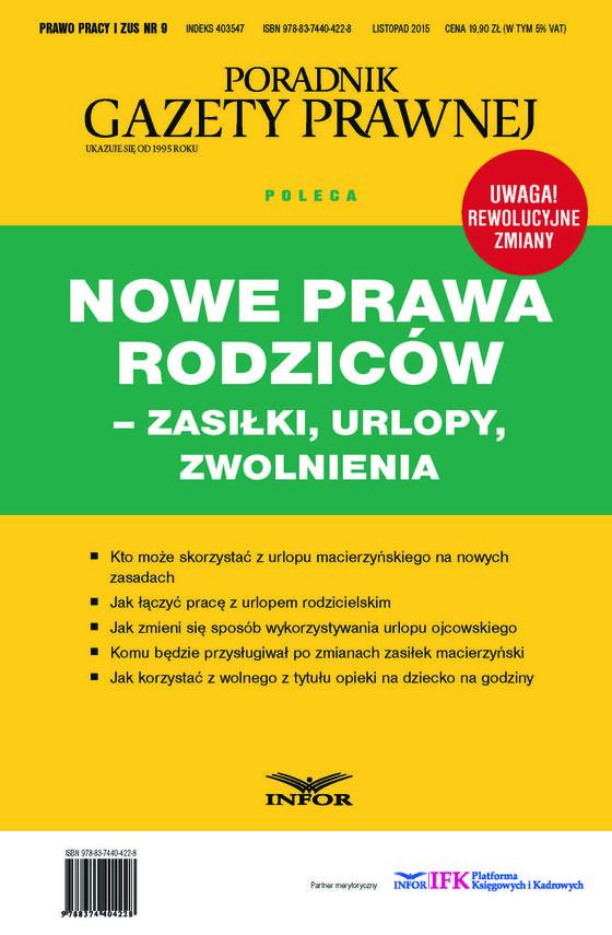 okładka Nowe Prawa Rodziców - zasilki, urlopy, zwolnienia, Ebook | INFOR PL SA