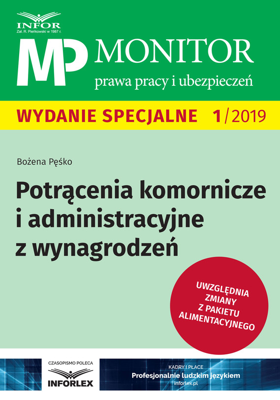 okładka Potrącenia komornicze i administracyjne z wynagrodzeńebook   pdf   Bożena Pęśko