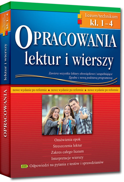 okładka Opracowania lektur i wierszy Klasa 1-4 Liceum technikumksiążka     