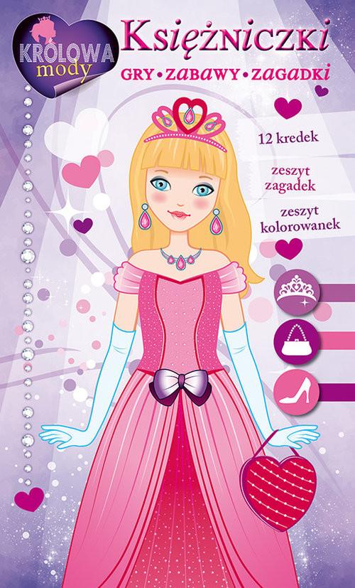 okładka Księżniczki Gry zabawy zagadki Zestaw kreatywny z kredkami, Książka |
