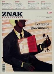 """okładka Miesięcznik """"Znak"""", grudzień 2015, nr 727, Książka  """