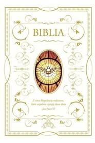 okładka Biblia domowa z białą obwolutą - wizerunek Ducha Świętego. Książka | papier |