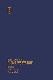 okładka Kroniki t. IV (1875), t. V (1876), Książka   Prus Bolesław