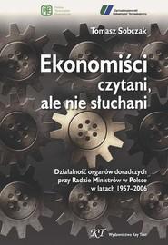 okładka Ekonomiści czytani, ale nie słuchani, Ebook | Tomasz Sobczak