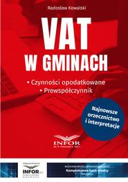 okładka VAT w gminach.Czynności opodatkowane.Prewspółczynnik, Ebook | Radosław Kowalski