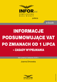 okładka Informacje podsumowujące VAT po zmianach od 1 lipca – zasady wypełniania, Ebook | Joanna Dmowska
