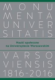 okładka Nauki społeczne na Uniwersytecie Warszawskim, Książka  