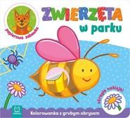 okładka Zwierzęta w parku Kolorowanka z grubym obrysem, okrągłe naklejki, papierowa zabawka, Książka  