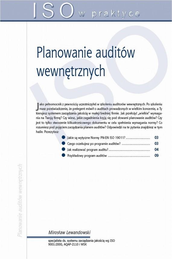 okładka Planowanie auditów wewnętrznych. Ebook | PDF | Mirosław  Lewandowski