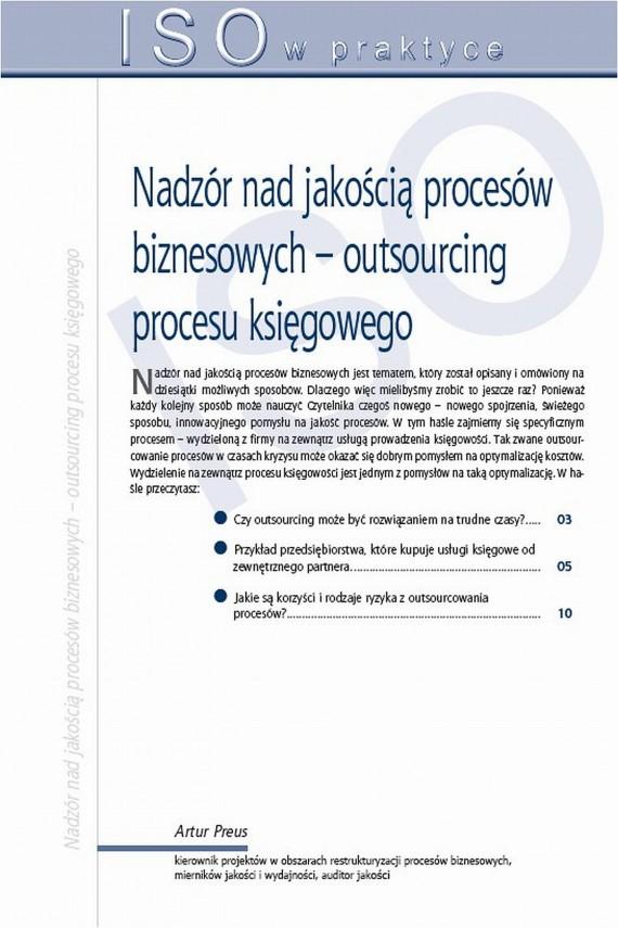 okładka Nadzór nad jakością procesów biznesowych – outsourcing procesu księgowego. Ebook | PDF | Artur  Preus