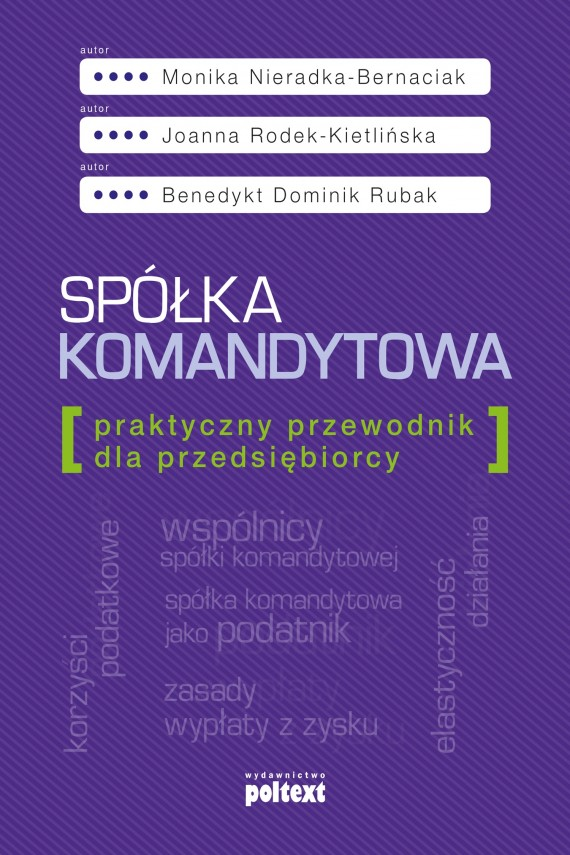 okładka Spółka komandytowaebook | EPUB, MOBI | Monika Nieradka-Bernaciak, Joanna Rodek-Kietlińska, Benedykt Dominik Rubak
