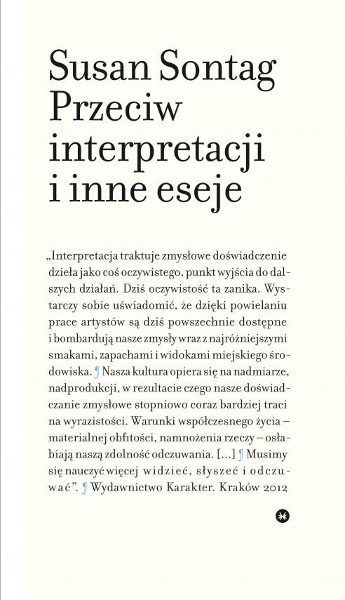 okładka Przeciw interpretacji i inne esejeebook | EPUB, MOBI | Susan Sontag, Dariusz Żukowski, Małgorzata Pasicka, Anna Skucińska, Przemek Dębowski