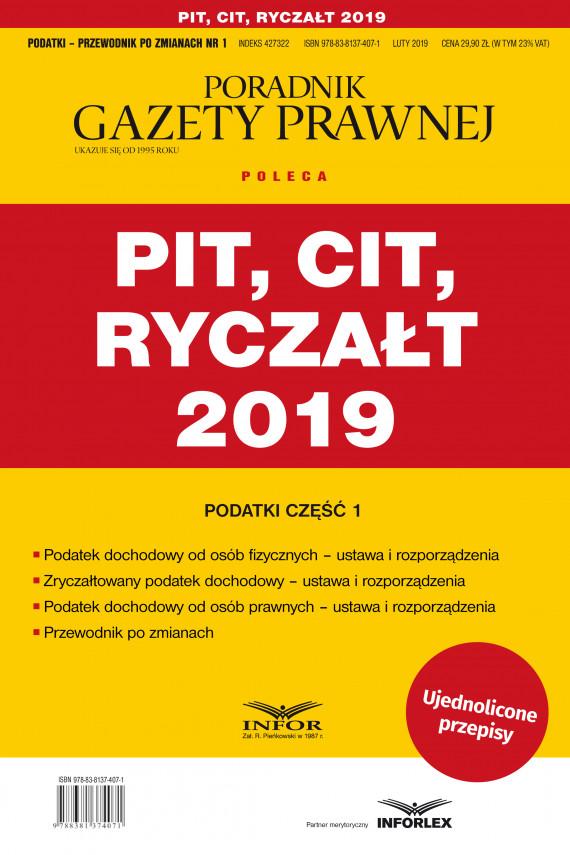 okładka PIT, CIT, Ryczałt 2019  Podatki cz.1ebook | PDF | praca  zbiorowa